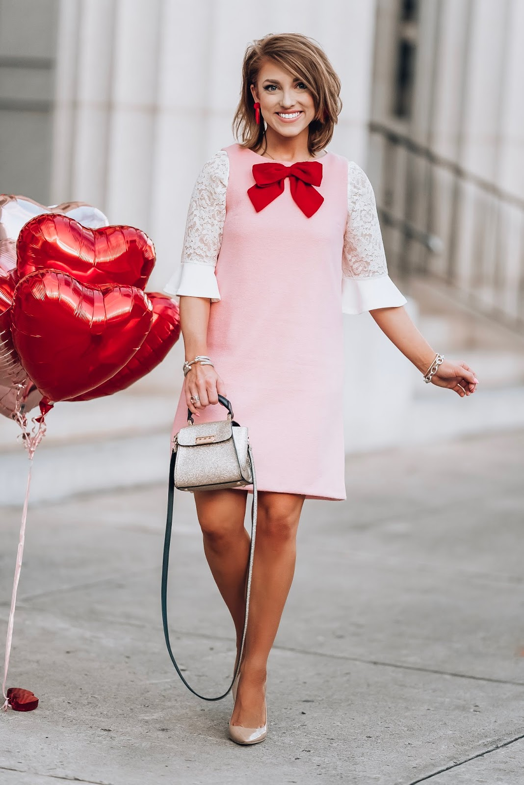 The Perfect Dress For Valentine's Day - Pink & Red Bow Dress - Something Delightful Blog #valentinesday #valentinesdaystyle #kjp #pinkdress #bow #valentine #galentinesday #winterstyle #hearts
