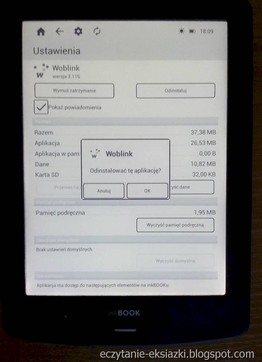 InkBOOK LUMOS – odinstalowanie aplikacji Woblink