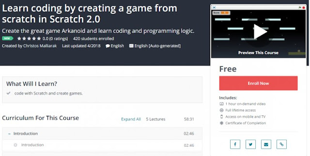 [100% Free] Learn coding by creating a game from scratch in Scratch 2.0