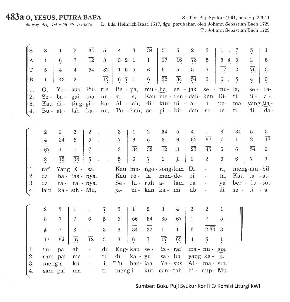 Lirik Dan Chord Lagu O Yesus, Putra Bapa