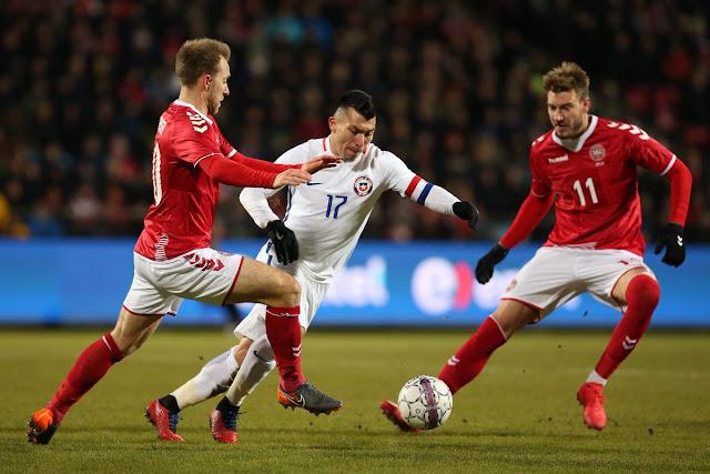 Dinamarca y Chile en partido amistoso, 27 de marzo de 2018
