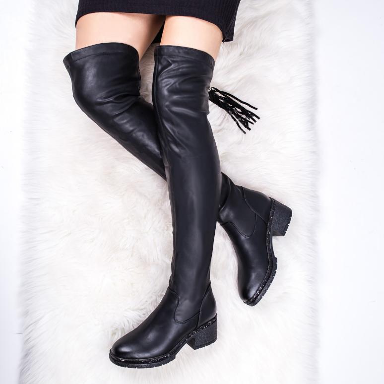 Cizme lungi peste genunchi dama negre fara toc la reducere