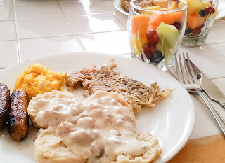 Southern Style Biscuits with Sausage Gravy and Hash Browns