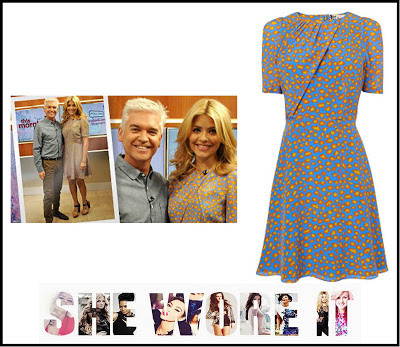 Bright, Dress, Holly Willoughby, Jaeger, Leopard print, Light Blue,  Print, Short Sleeve, Silk, Tea Dress, This Morning, Yellow,