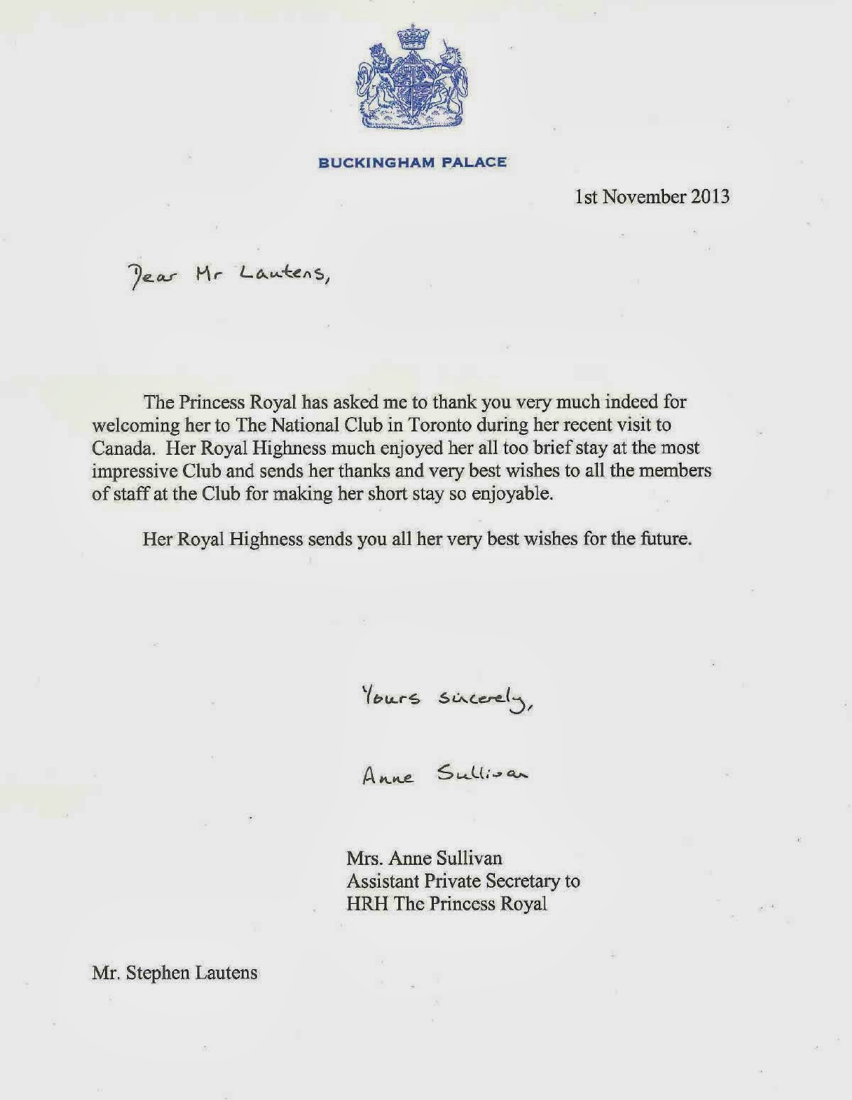 The National Club Thank You Letter From Hrh Princess Anne