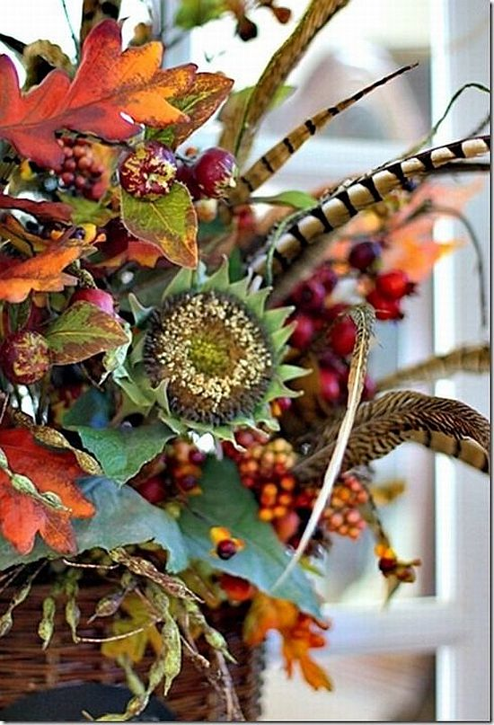 pretty fall flower decoration with feathers