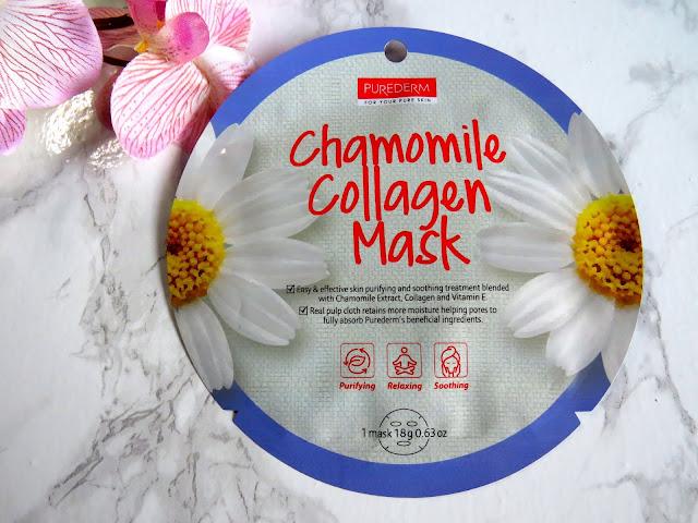 maska w płachcie Purederm, Purederm Chamomile Collagen Mask, maska kolagenowa z rumiankiem Purederm