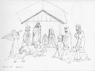 Christmas Stable Drawing.Isketch4fun Christmas Eve At The Stable Day 6 Of 75