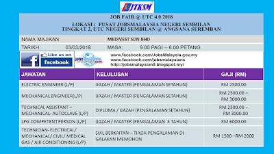 Karnival Kerjaya Sempena Job Fair @UTC 4.0 2018, Negeri Sembilan Pada 3 Mac 2018