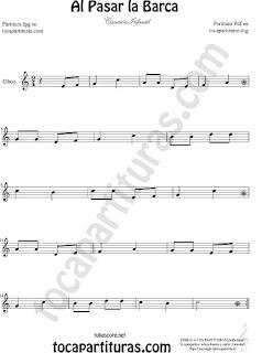 Oboe Partitura de Al Pasar la Barca Canción infantil Sheet Music for Oboe Music Score