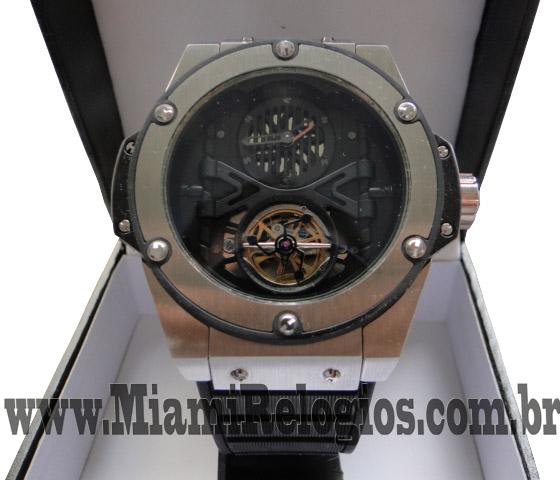 0ad13baeacd Replica de relogio Hublot Turbilion - Prata -Vidro cristal Mineral- Maquina  Automática Suiça - Tamanho 46mm -Super Lançamento