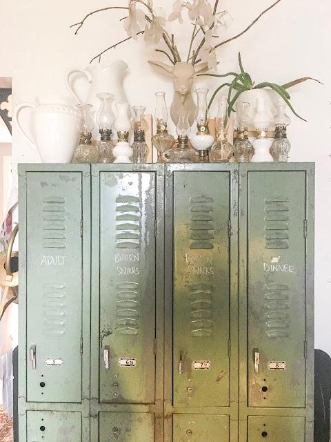 vintage lockers in kitchen