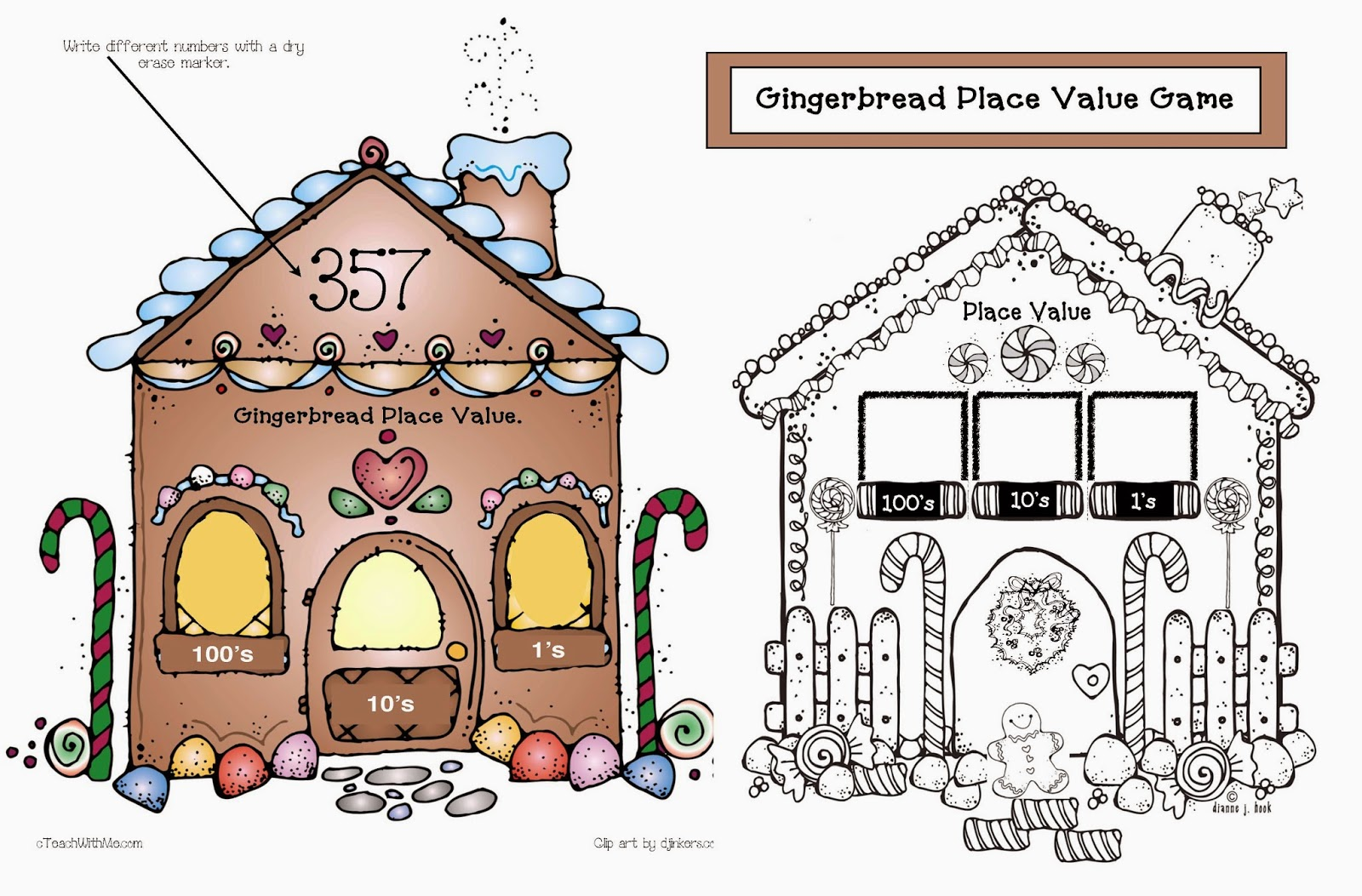 Classroom Freebies Place Value Gingerbread House Game