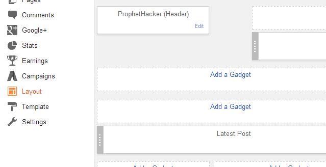 add a gadget in blog