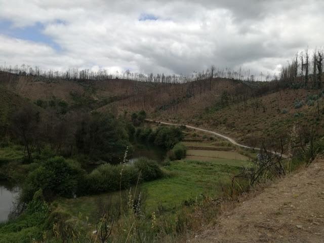 Vista da estrada de acesso á praia fluvial do Cornicovo