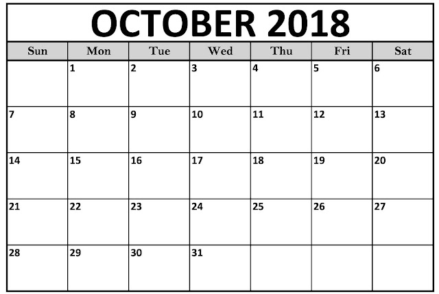 October 2018 USA UK Printable calendar