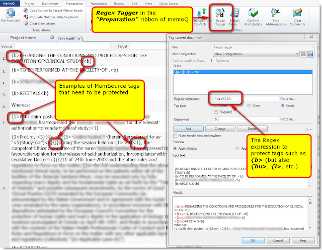 Use Regex Tagger to protect the MemSource tags