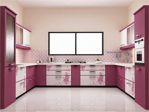 Desain Dapur Cantik Dengan Motif Bunga Warna Ungu - Desain ...