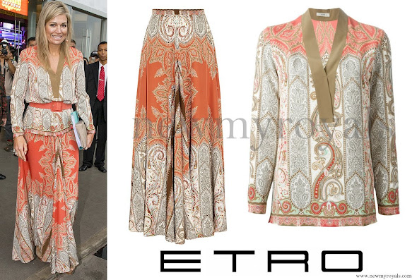 Queen Maxima wears Etro Paisley Print Skirt and Blouse