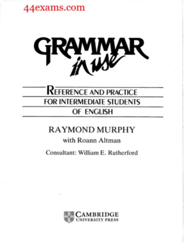 Grammar in use By Raymond Murphy PDF Book