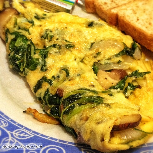 Cooking Spinach Omelet with Mushroom