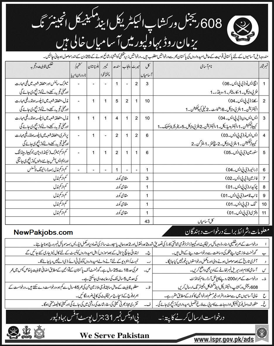 latest-jobs-in-pakistan-army-608-regional-workshop-eme-from-all-over-paksitan