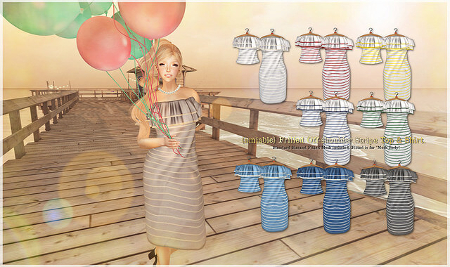 {amiable}Frilled Off-shoulder Stripe Top&Dress