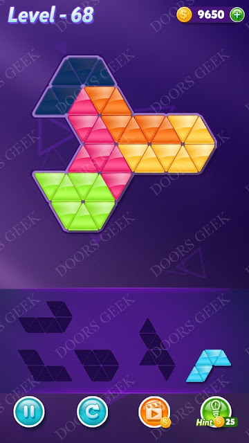 Block! Triangle Puzzle 5 Mania Level 68 Solution, Cheats, Walkthrough for Android, iPhone, iPad and iPod