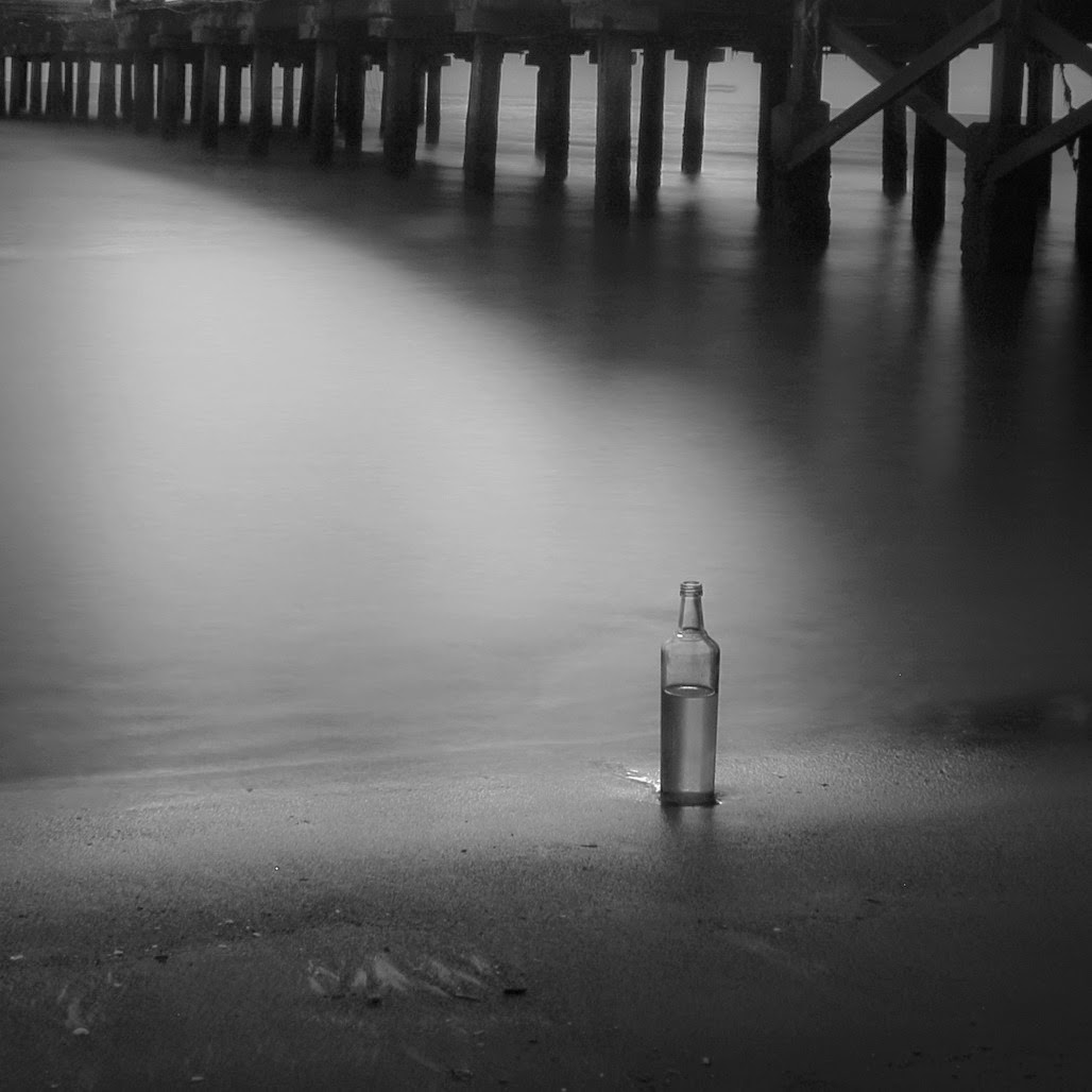 Long exposure black and white photo