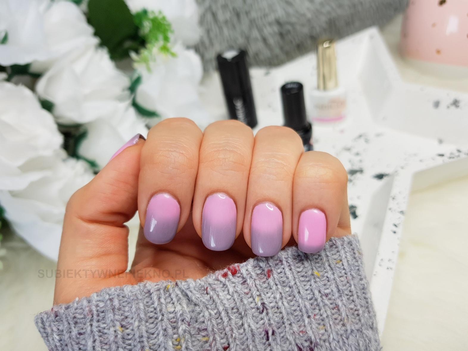 Termiczny lakier hybrydowy Color It Premium 2610 swatche na paznokciach - przejście kolorów