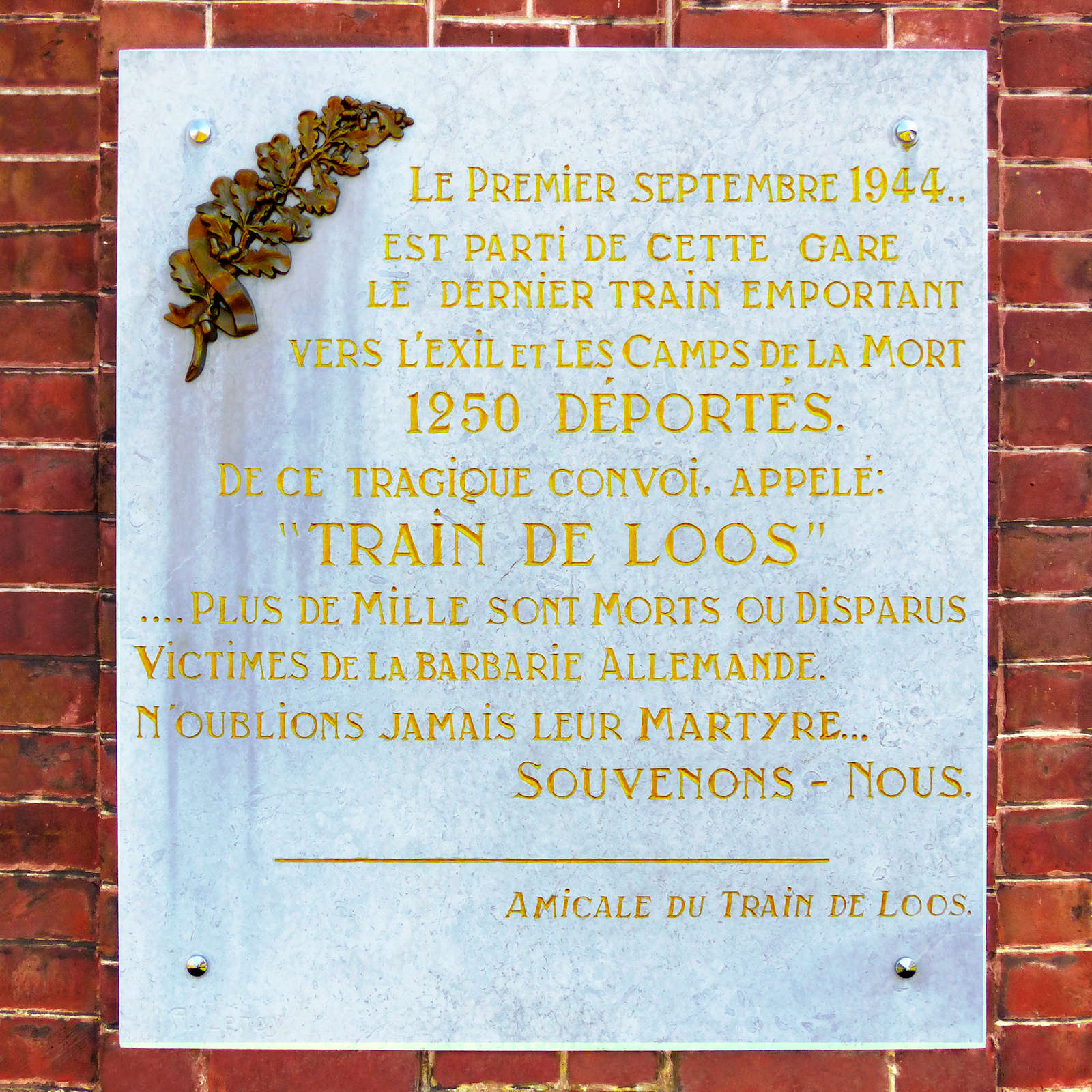 Gare de Tourcoing - Plaque commémorative du Train de Loos