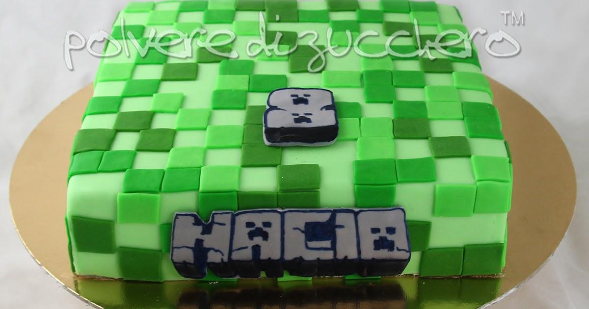 Torta decorata in pasta di zucchero di Lego Minecraft