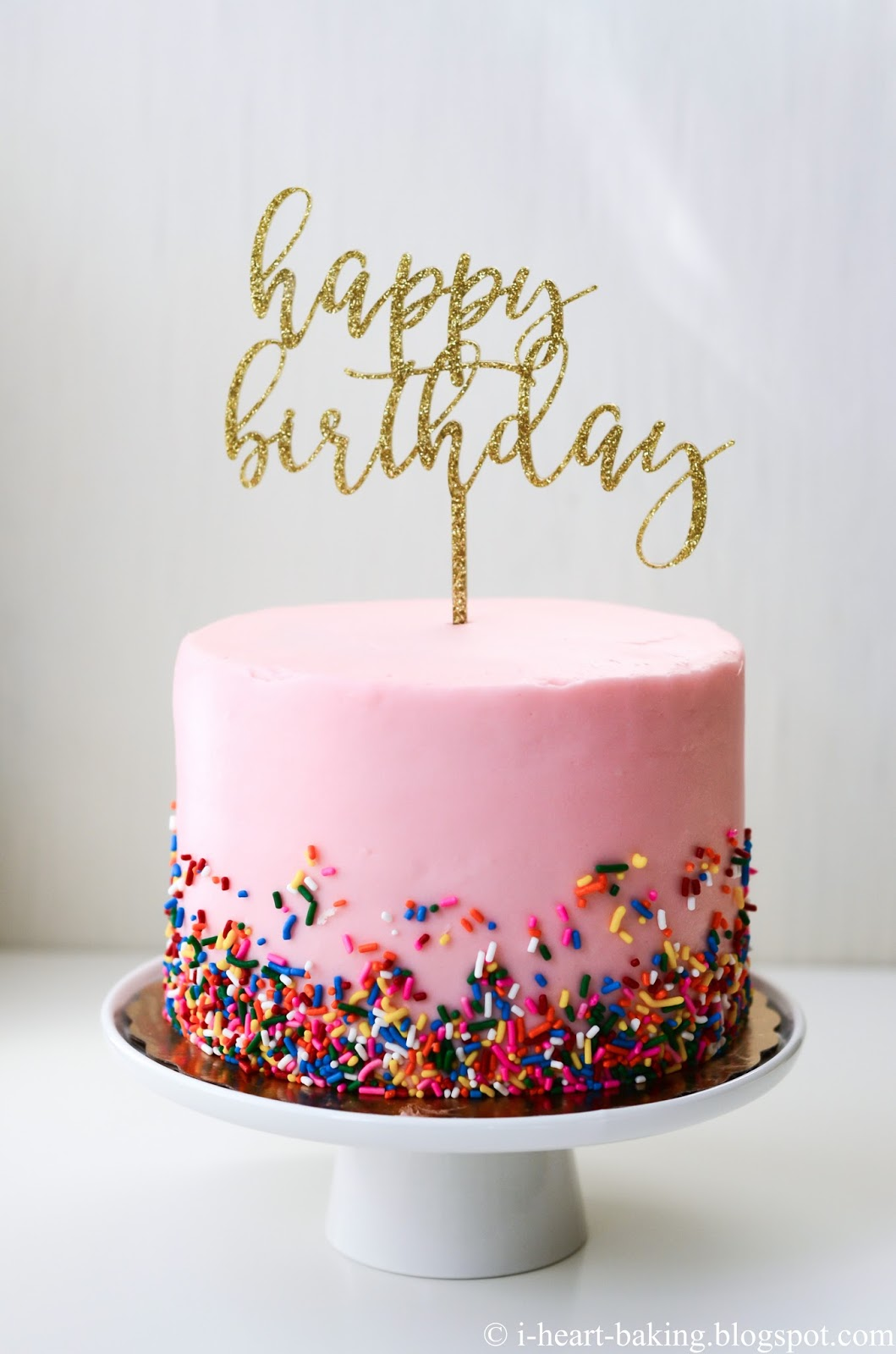Terrific I Heart Baking Pink Sprinkles Birthday Cake With Gold Birthday Funny Birthday Cards Online Sheoxdamsfinfo