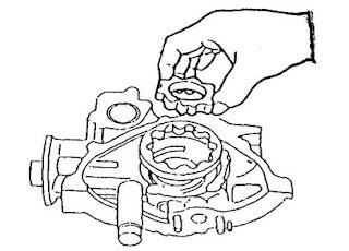 Melepas rotor pompa oli