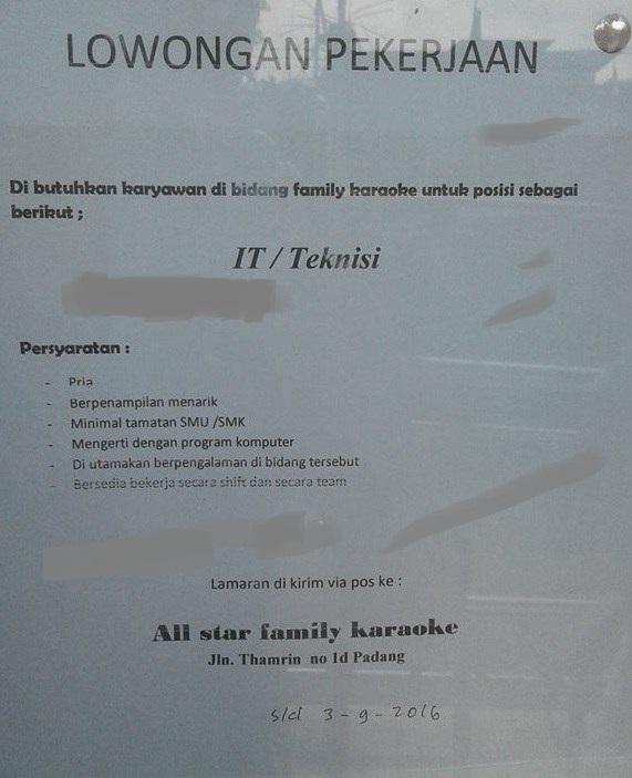 Lowongan Kerja di Padang – All Star Family Karaoke – IT/Teknisi (Penutupan 03 Sept.2016)