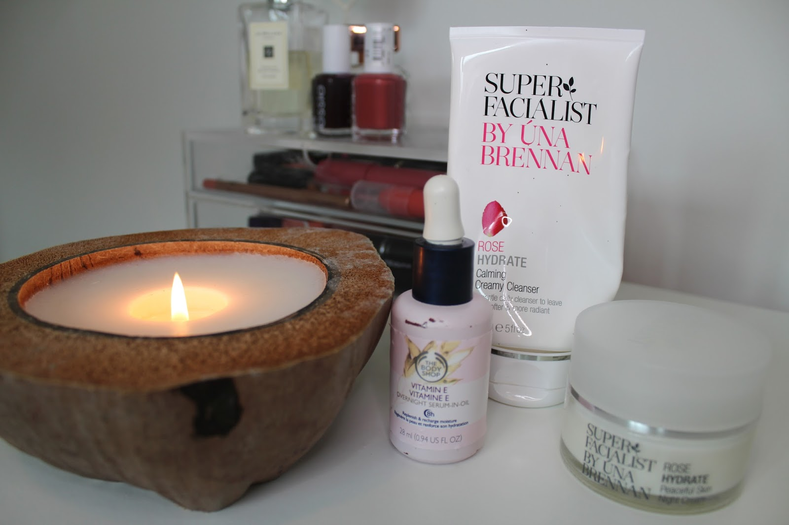 bblogger bblogger skincare beauty skin super facialist una brenna rose hydrate calming creamy cleanser peaceful skin night cream the body shop vitamin e overnight serum in oil recommendations review kirstie pickering skincare for the shopping list twitter instagram