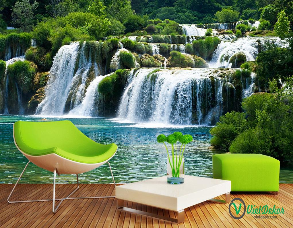 Tranh dán tường 3d phong cảnh thác nước và núi