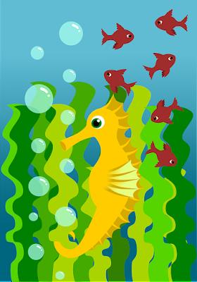 Caballito de mar que baila al compás de las olas