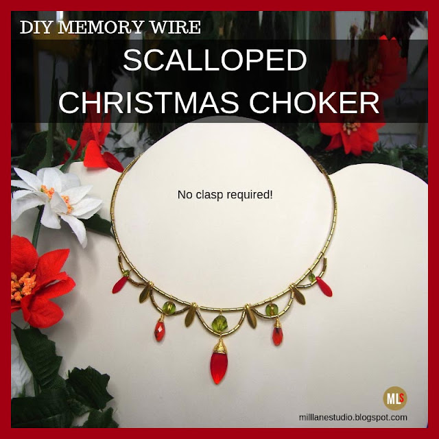 Christmas choker featuring red drop beads on gold scallops with olivine accents.