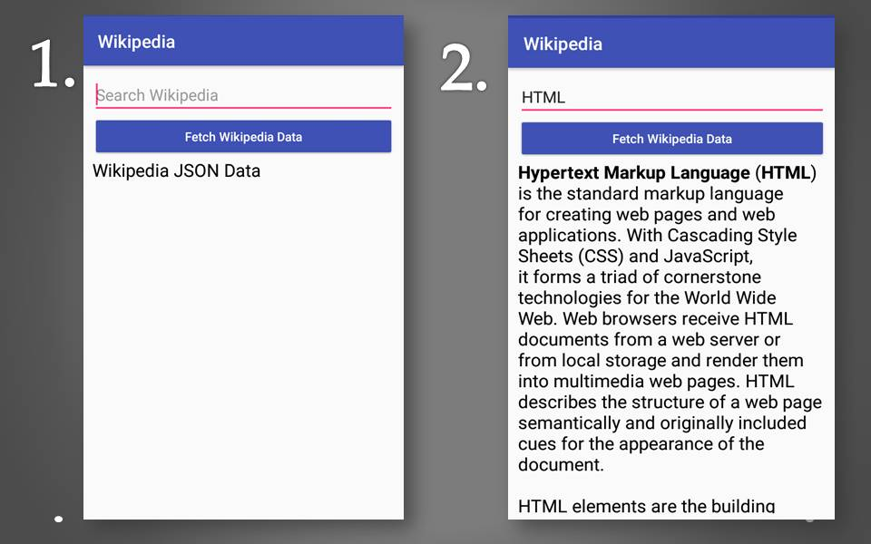 How to create Android Wikipedia app in android studio