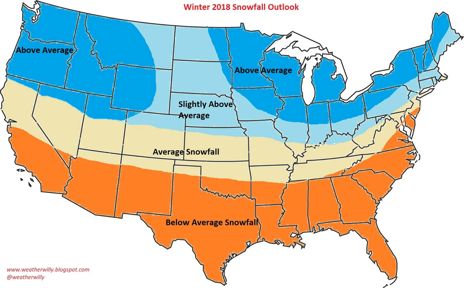 Weather Willys Weather The Winter Outlook First Glance - Average snowfall map us
