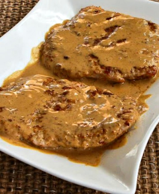 Low-Carb Grain-Free Breaded Pork Chops with Mustard Sauce found on KalynsKitchen.com