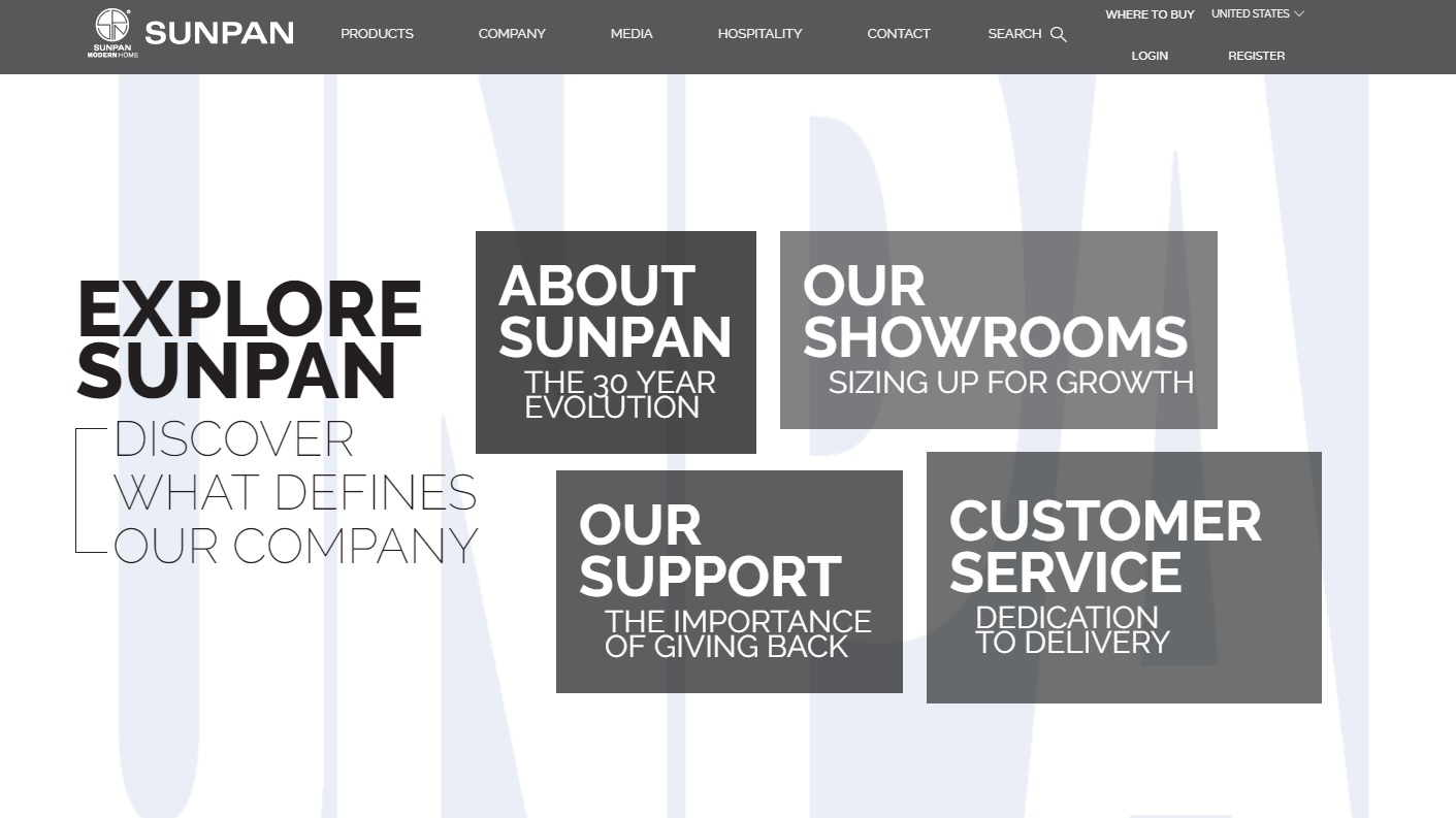 The Sunpan did an excellent job of using white space and minimal design on their website.