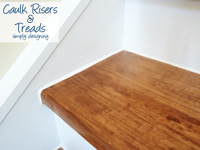 Caulk Risers and Treads | step by step instructions on how to rip up carpet and refinish wood stairs, including all the mistakes we made along the way | Simply Designing | #diy #decorating #homedecor #homeimprovement #homeprojects #tutorial #stairs #stain