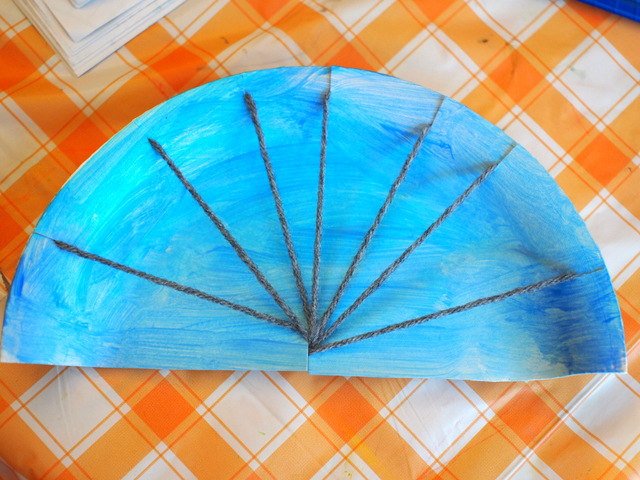 Rainbow Paper Plate Weaving Project Pink Stripey Socks