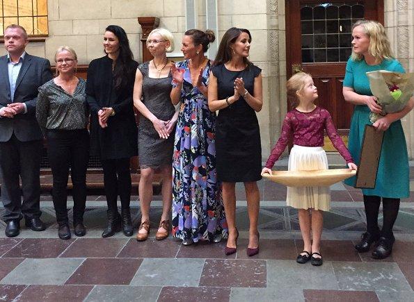 Princess Marie wore Prada dress and Hugo Boss Katniss dress, Salvatore Ferragamo res suade shoes
