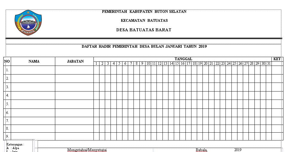 Format Absensi Kepala Desa Dan Perangkat Desa Format Administrasi Desa