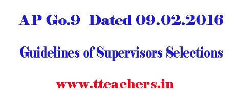 Guidelines of Supervisors Selections in AP with SGTs,PETs,Grade-II HMs