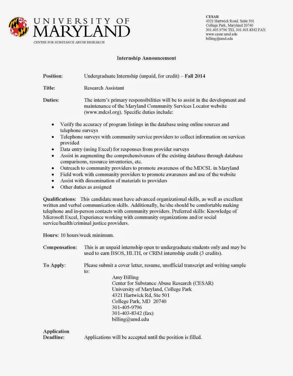 university of maryland sample resume