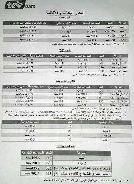 أسعار باقات تي داتا Te Data Adsl في مصر 2019